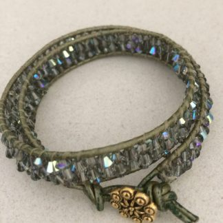 Swarovski Black Diamond Leather Woven Bracelet