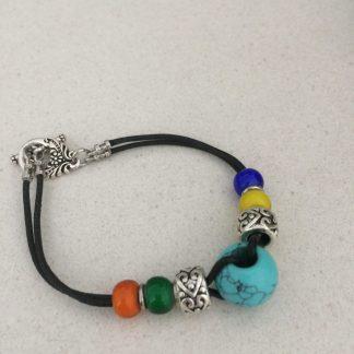 Coated Hematite Leather Bracelet 2