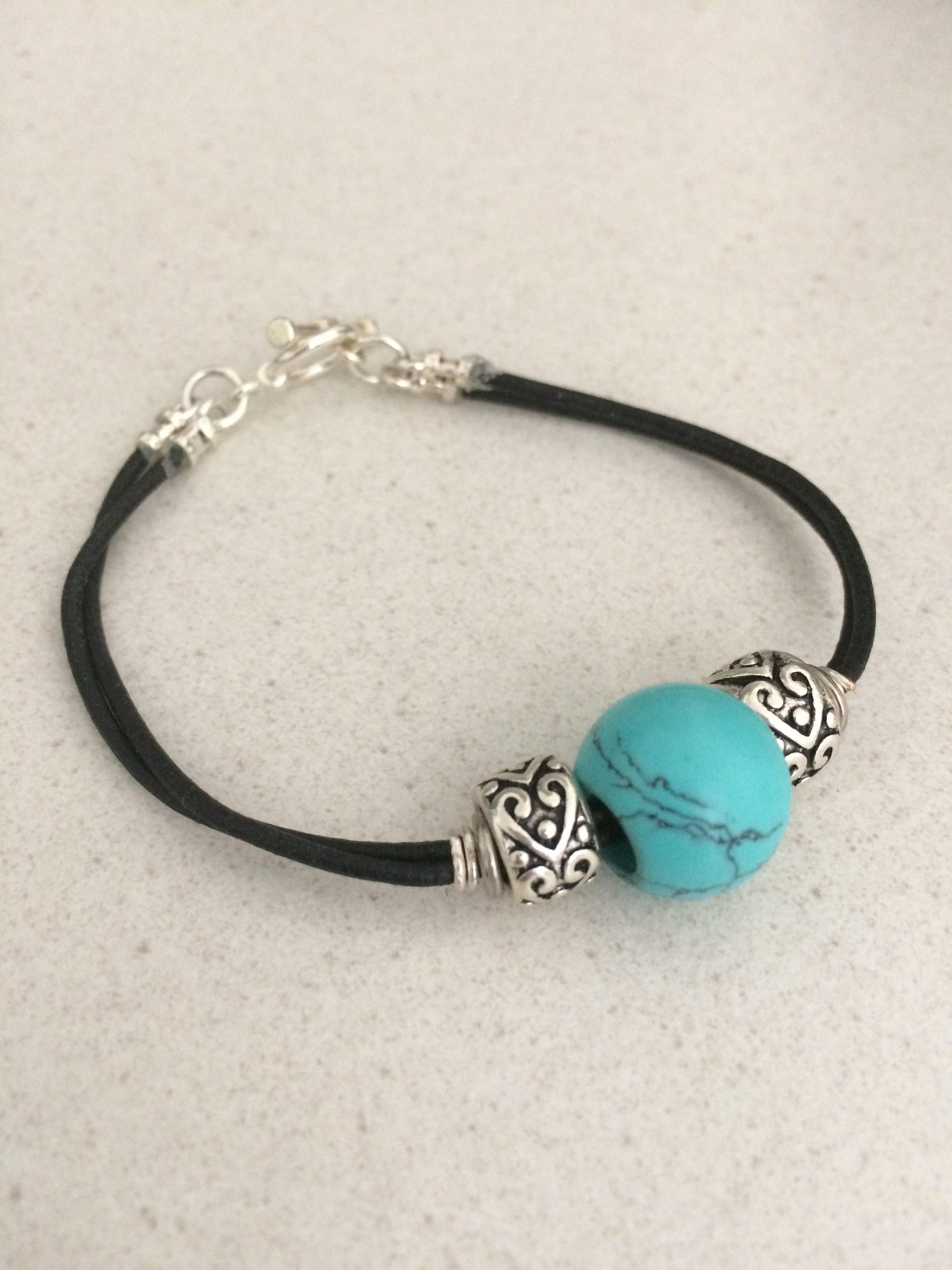 Coated Hematite Leather Bracelet