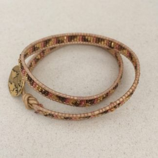 Delica Seed Beads Leather Woven Bracelet