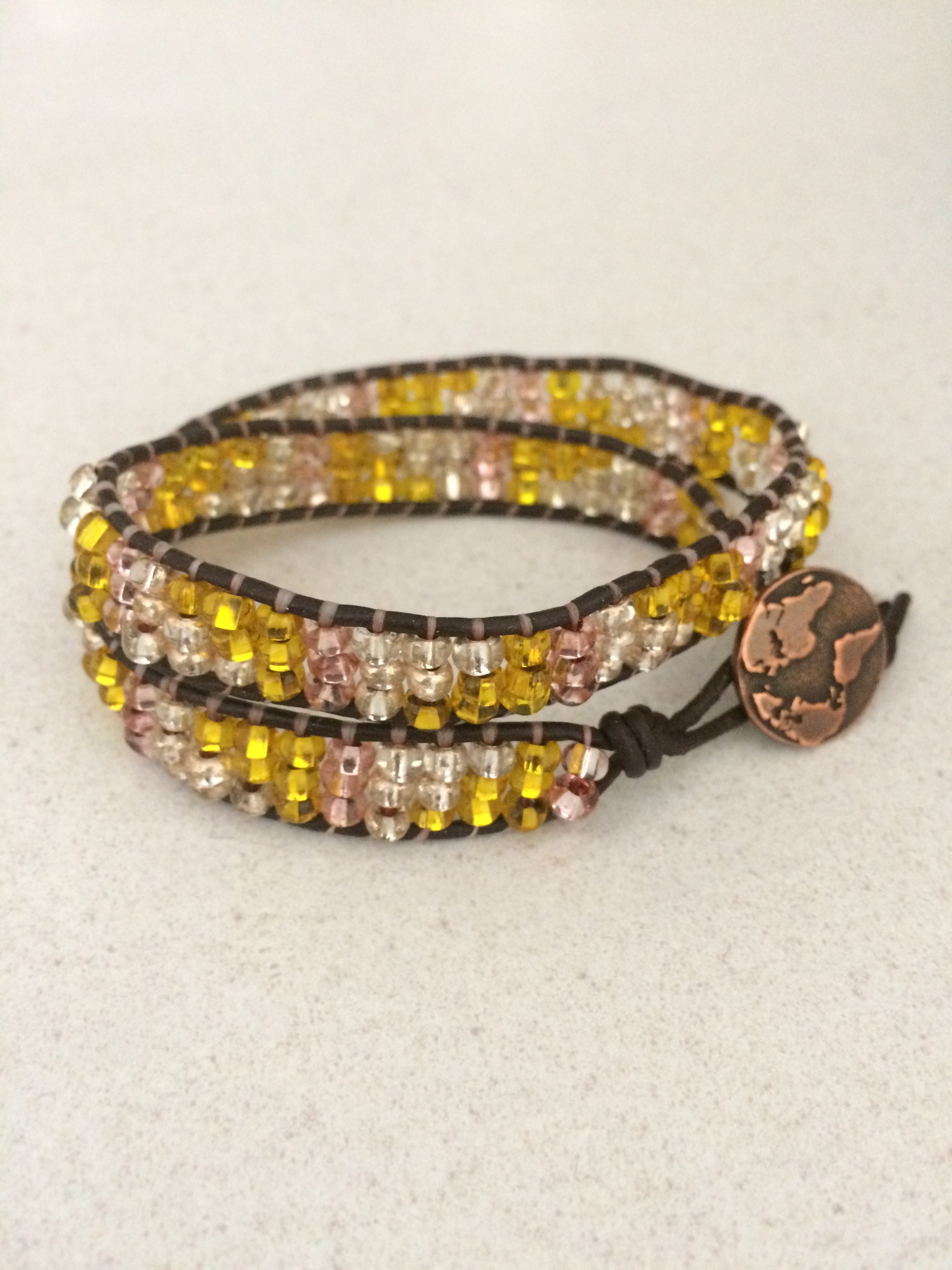 Seed Beads Leather Woven Bracelet
