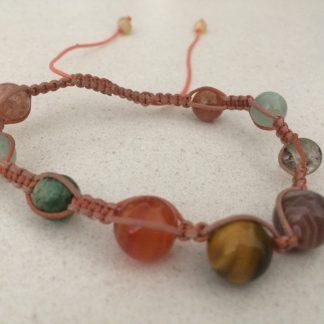 Tiger Eye/Sunstone Macrame Bracelet