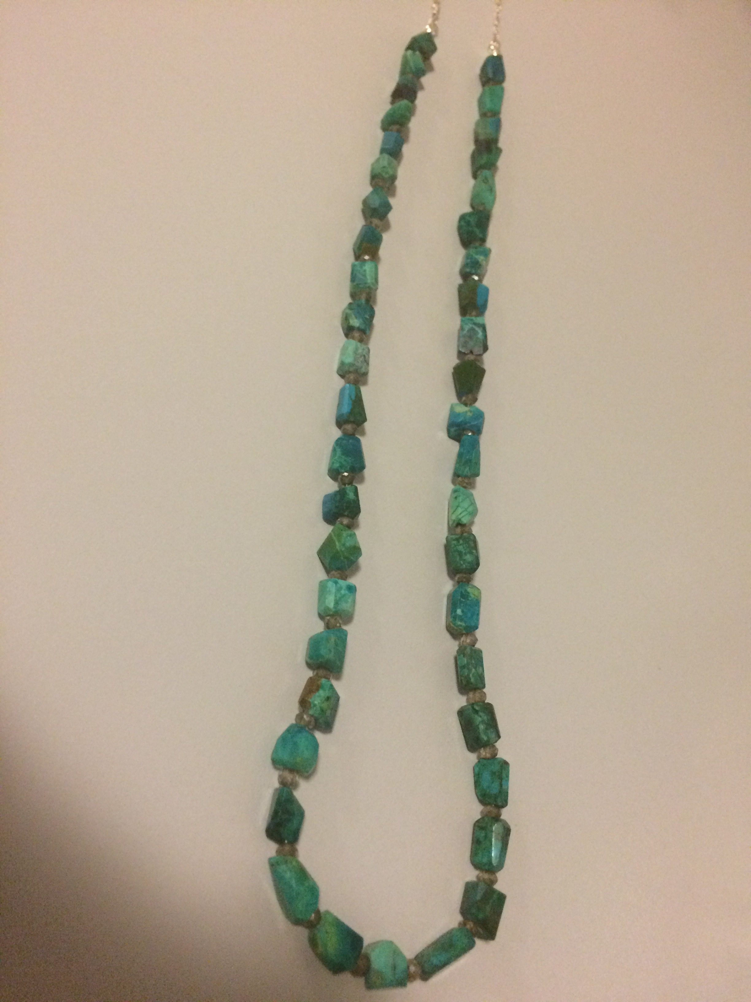 Chrysocolla Sterling Silver Chain Necklace