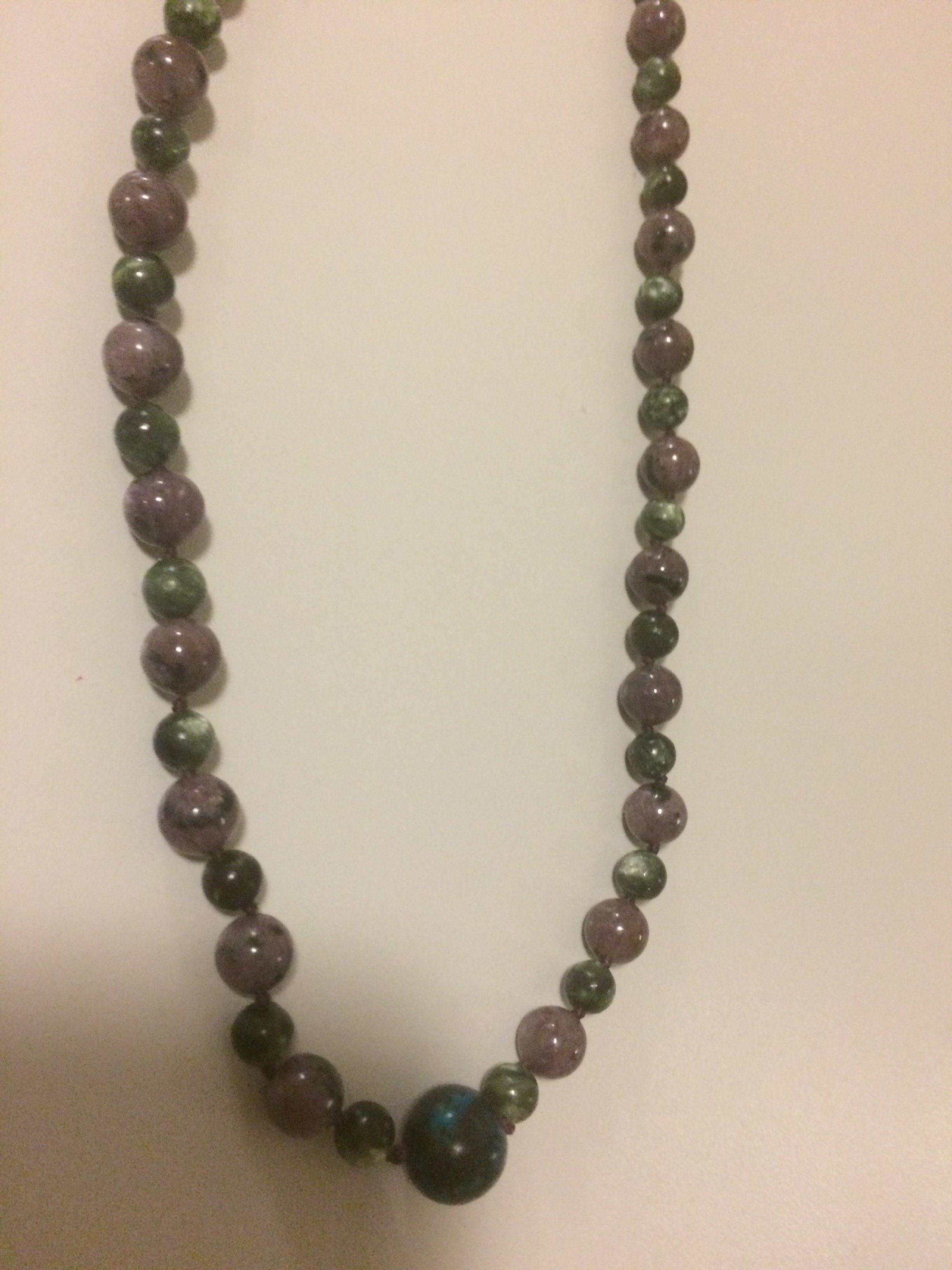 Charoite and Seraphinite Sterling Silver Necklace