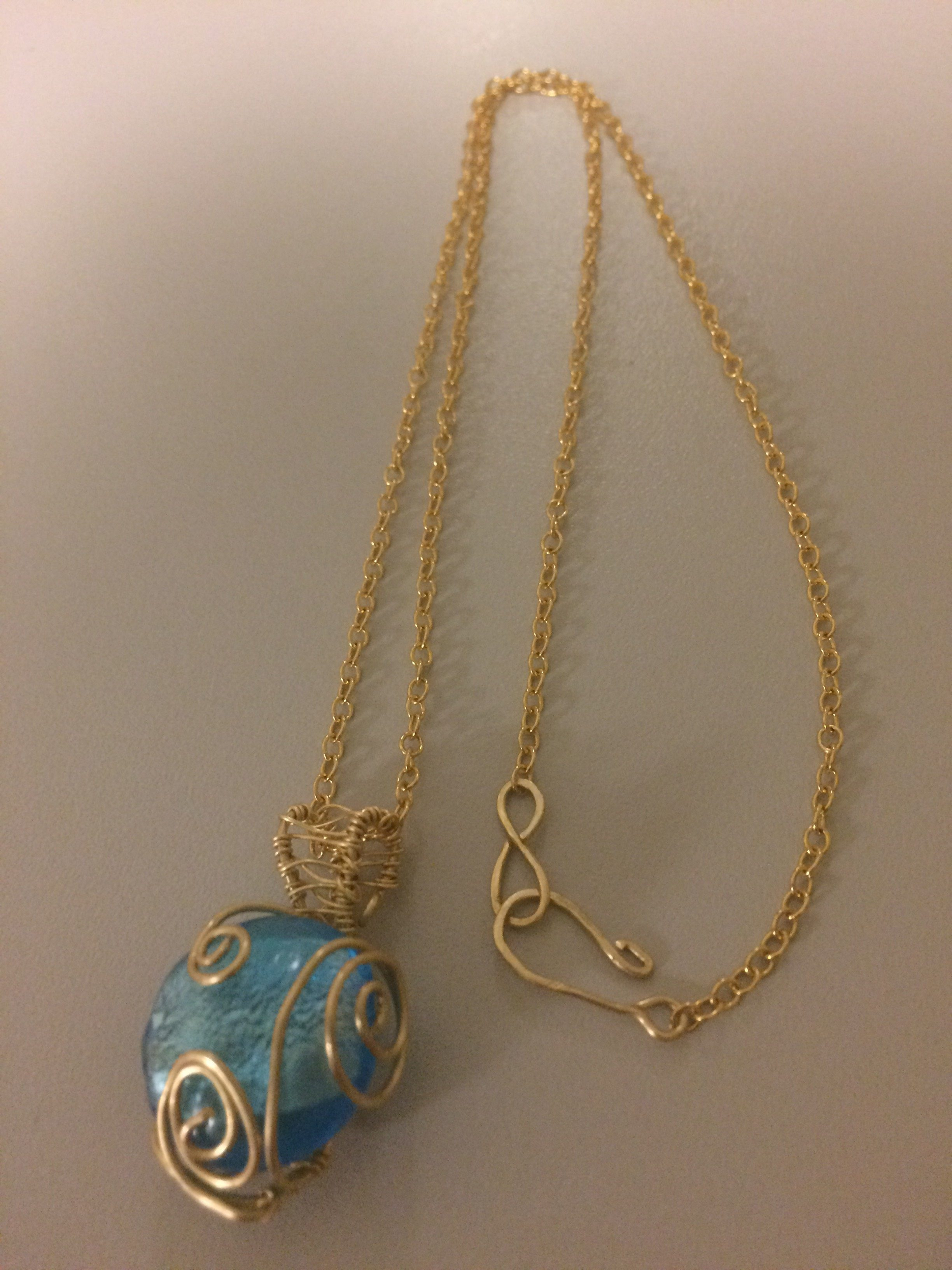 Wire Wrapping Glass Bead Necklace