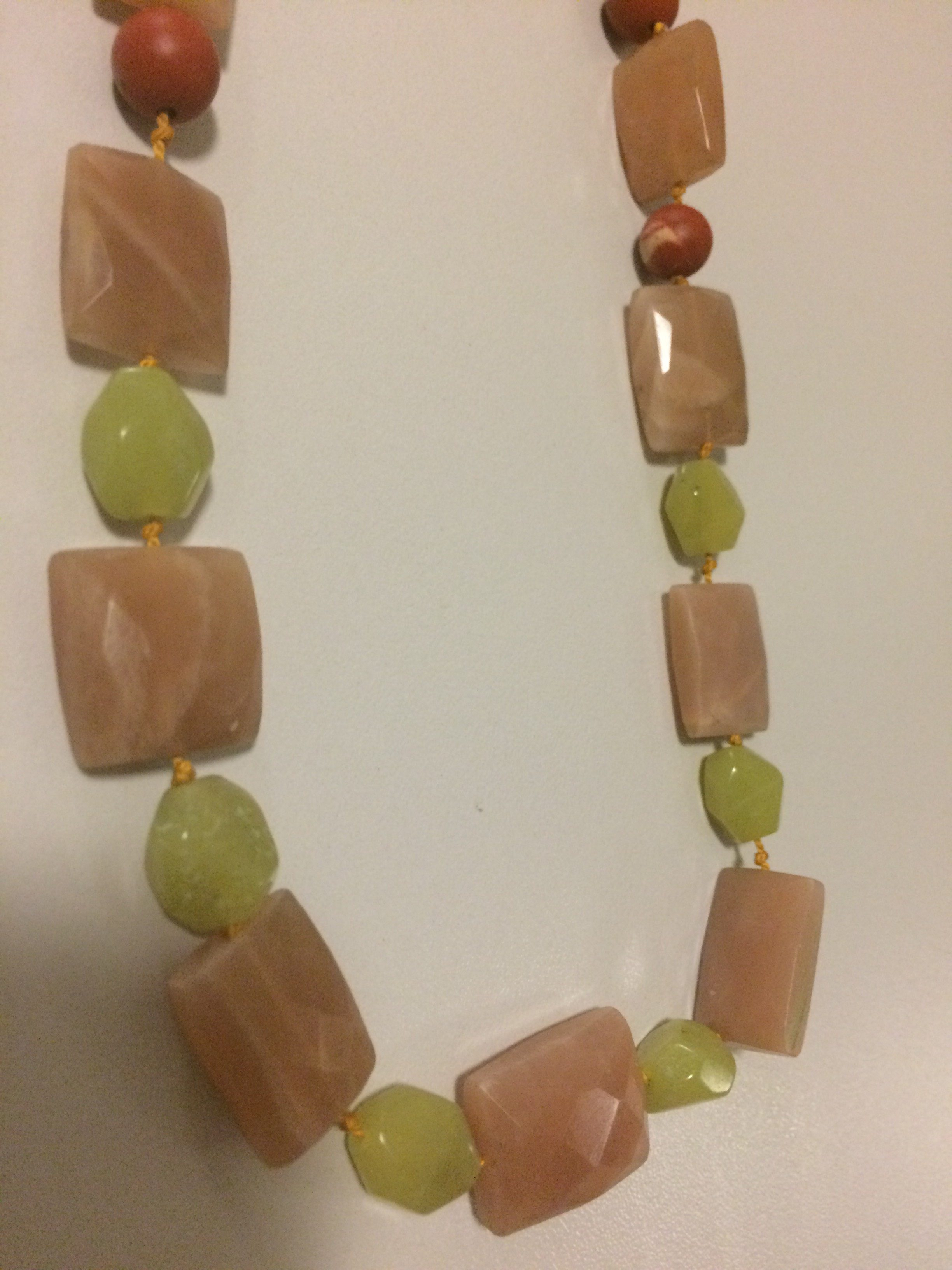 Peach Moonstone/Oil Jade/Matt Jasper Necklace
