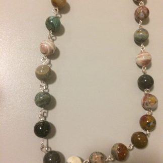 Ocean Jasper Serling Silver Chain Necklace