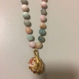 Morganite/Picasso Creek Jasper Pendant Necklace