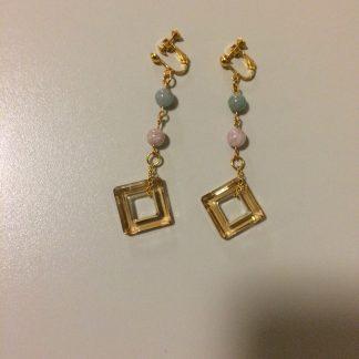 Morganite/Swarovski Earrings