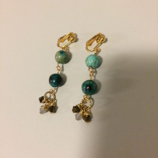 Chrysocolla and Swarovski Earrings