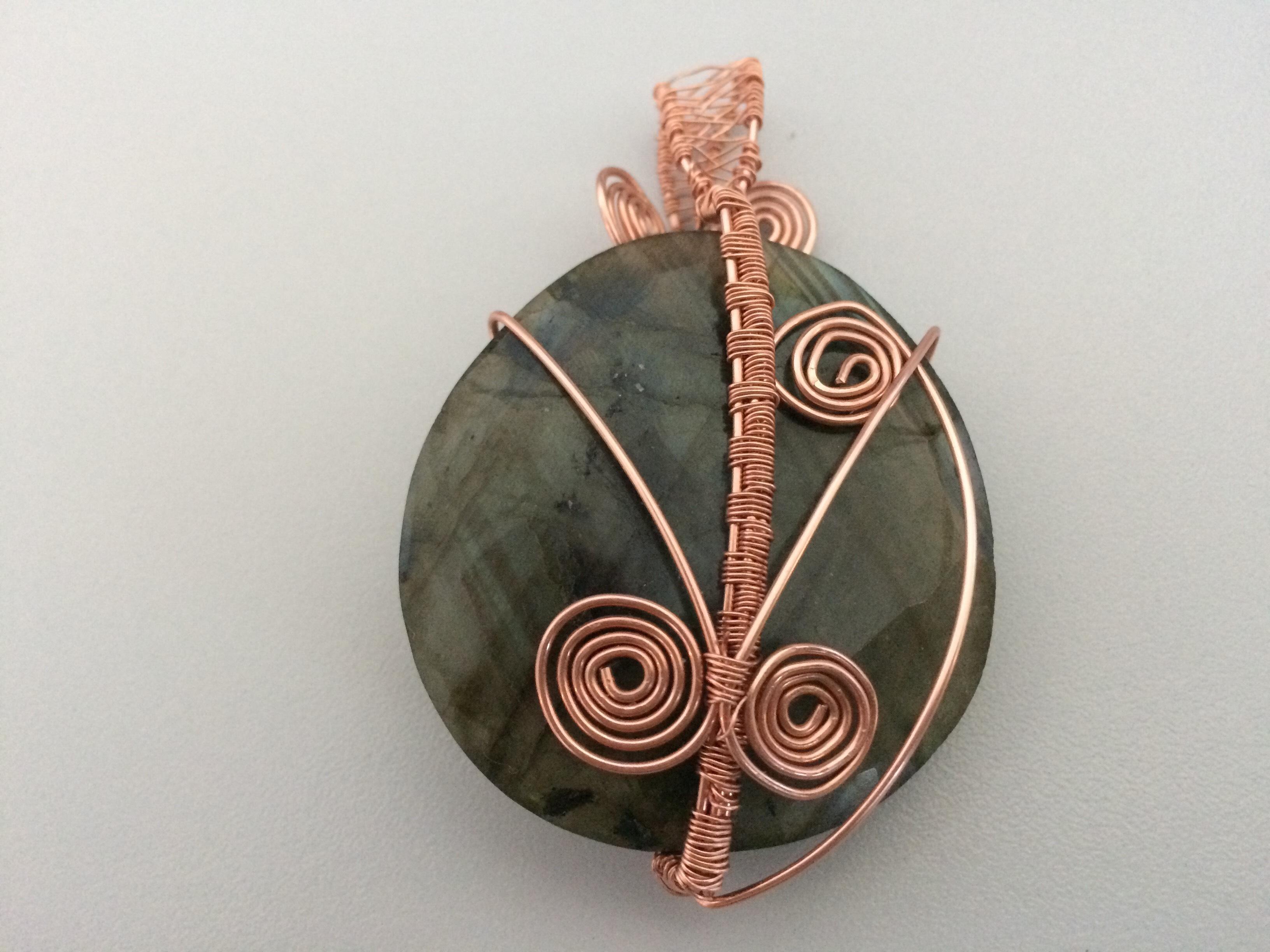 Labradorite Pendant with Copper Wire
