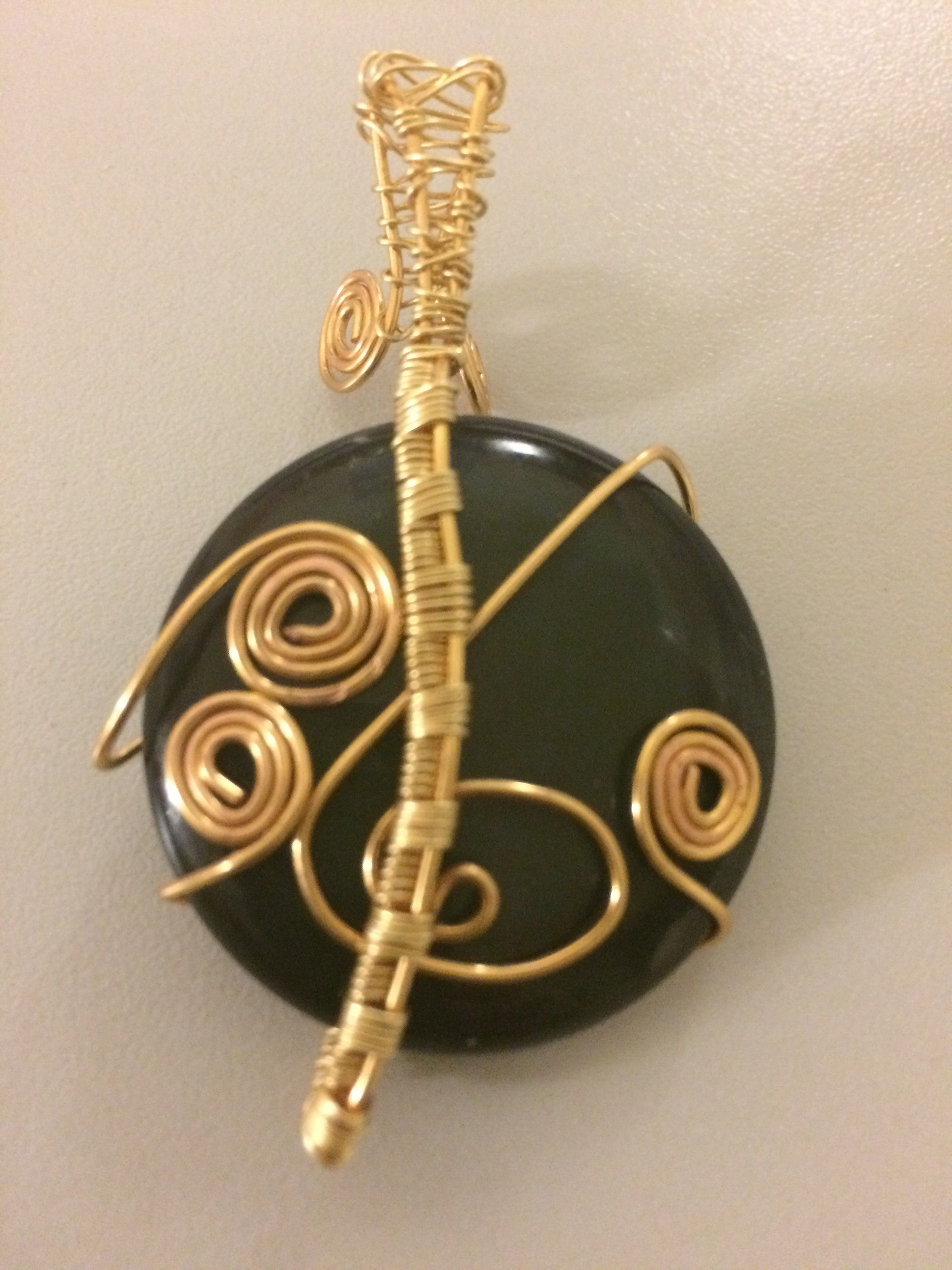 Rainbow Obsidian Gold Plated Wrapped Pendant