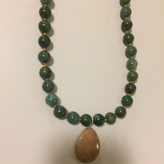 Moss Agate & Tiger Eye Pendant Sterling Silver Knotting Necklace w/h Silk Thread