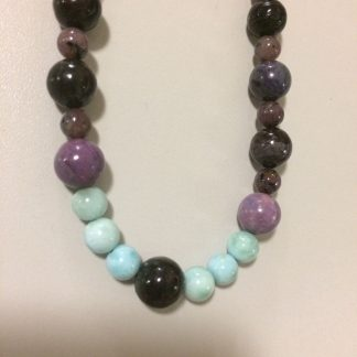 Sugilite, Larimar, Charoite Sterling Silver Necklace with Sterling Silver Tire Beads
