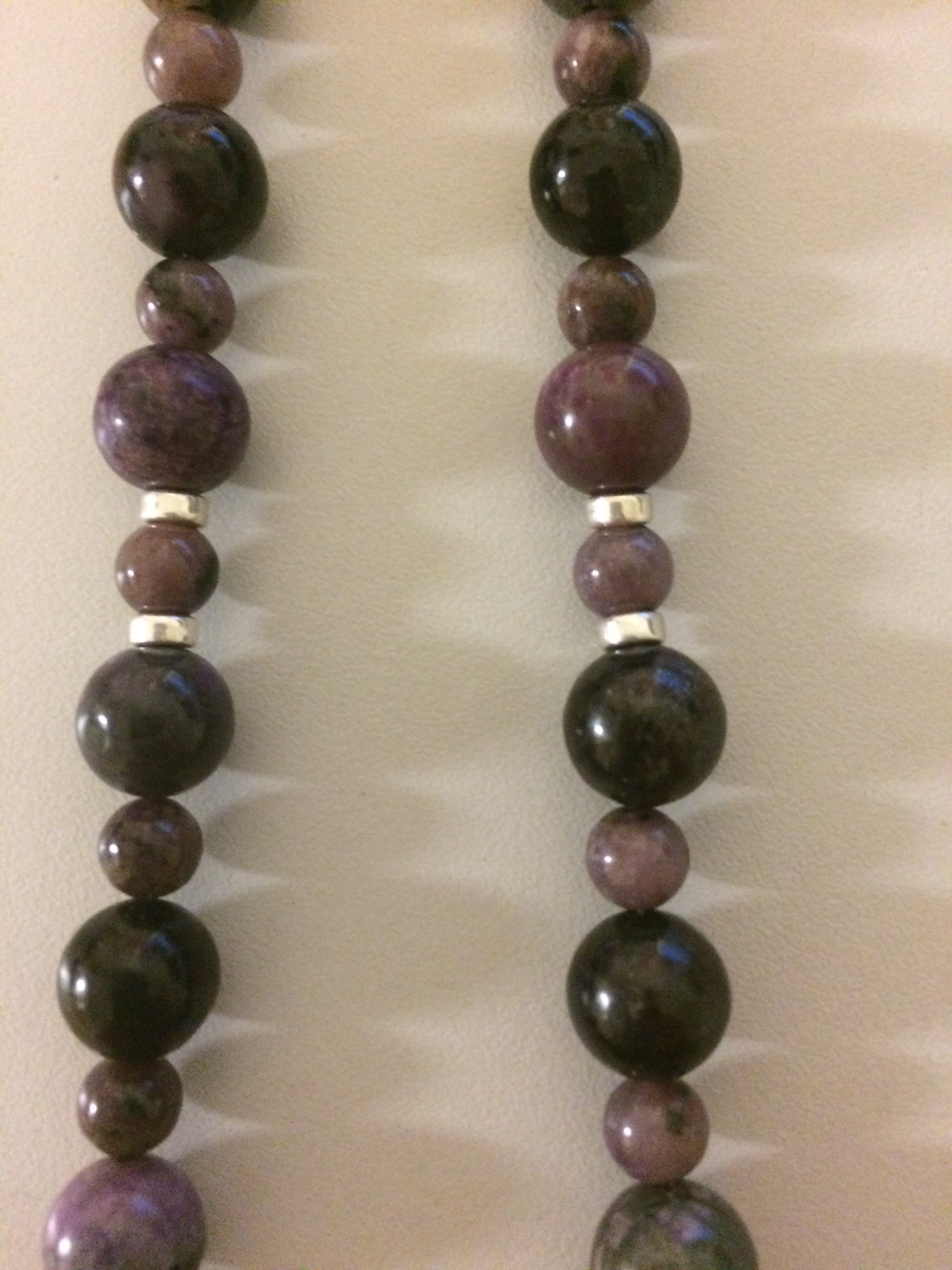 Sugilite, Larimar, Charoite Sterling Silver Chain Necklace with Sterling Silver Tire Beads