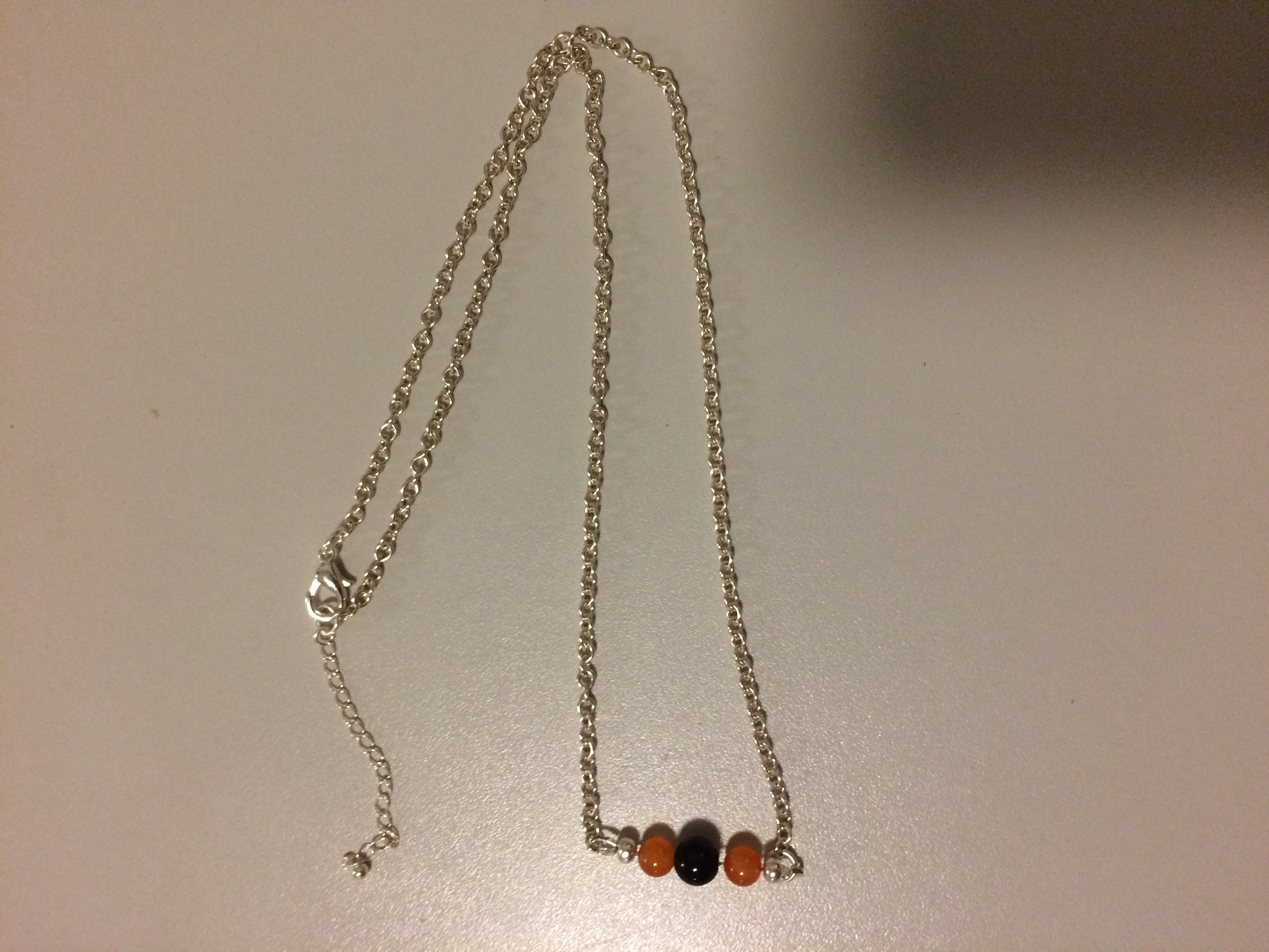 Amethyst and Carnelian Necklace with Sterling Silver adjustable Chain