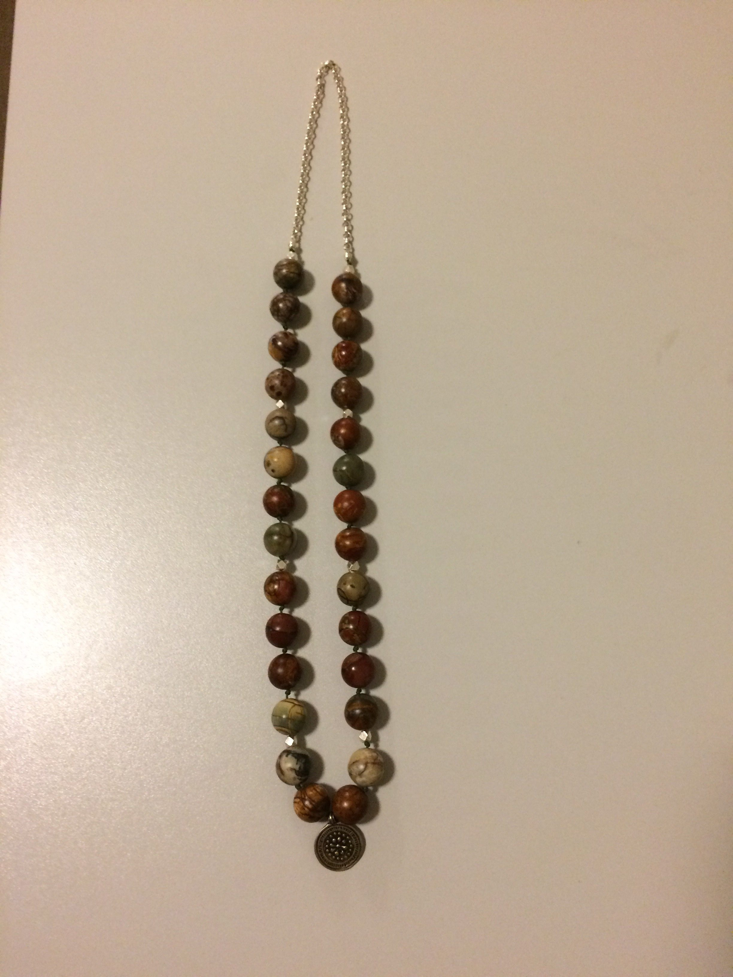Landscape Jasper Sterling Silver/Beads/Chain Necklace with White Bronze Charm