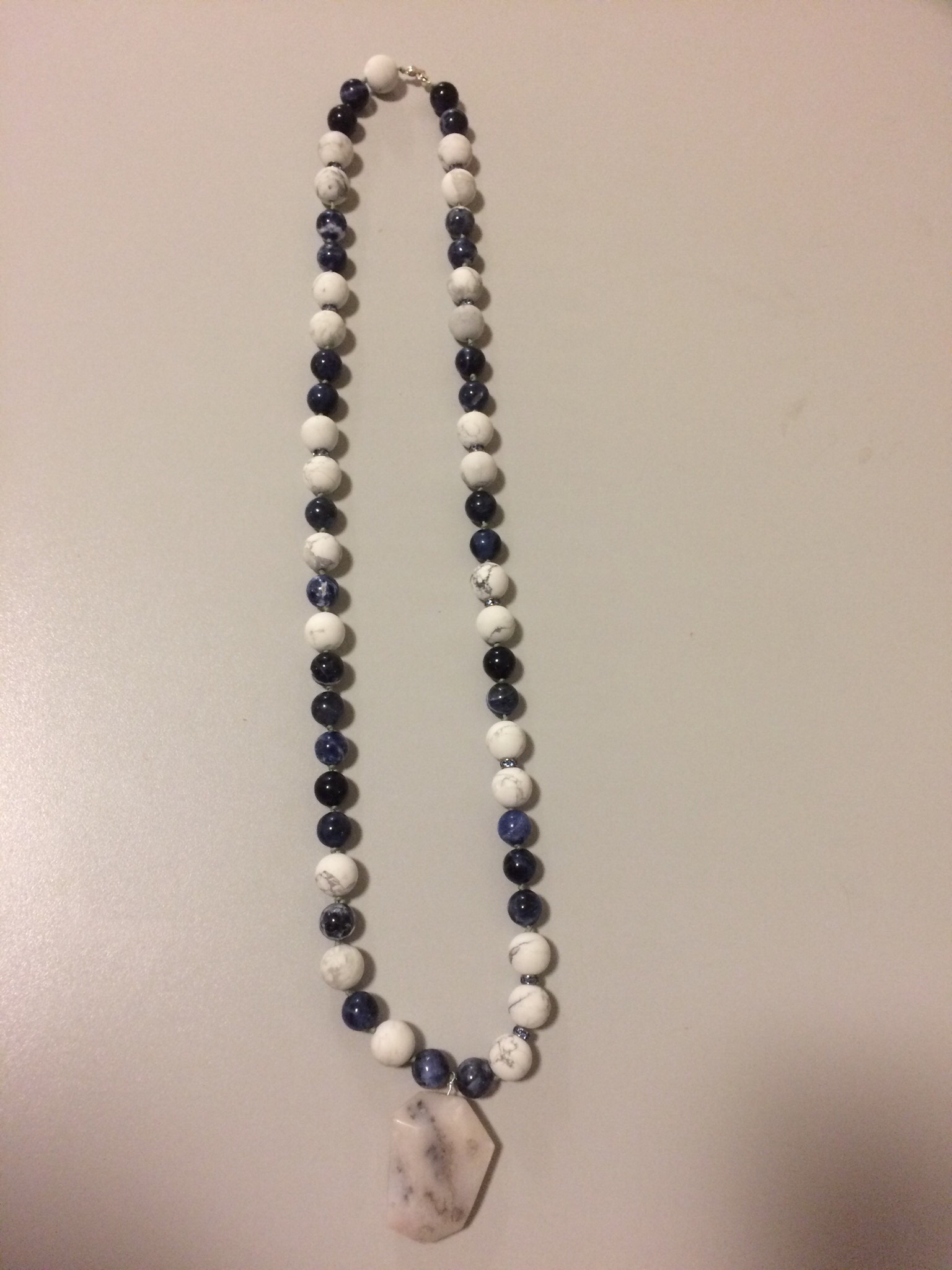 Sodalite, Mat Howlite, Swarovski Knotting Necklace with Pink Perunian Opal Pendant