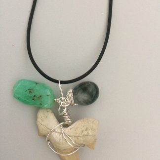 Extinct Shark Tooth, Chrysopraise, Eagle's Eye Necklace for Gen-chan