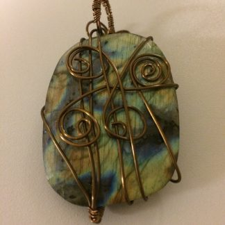 Labradorite Antique Brass Wire-Wrapped Pendant