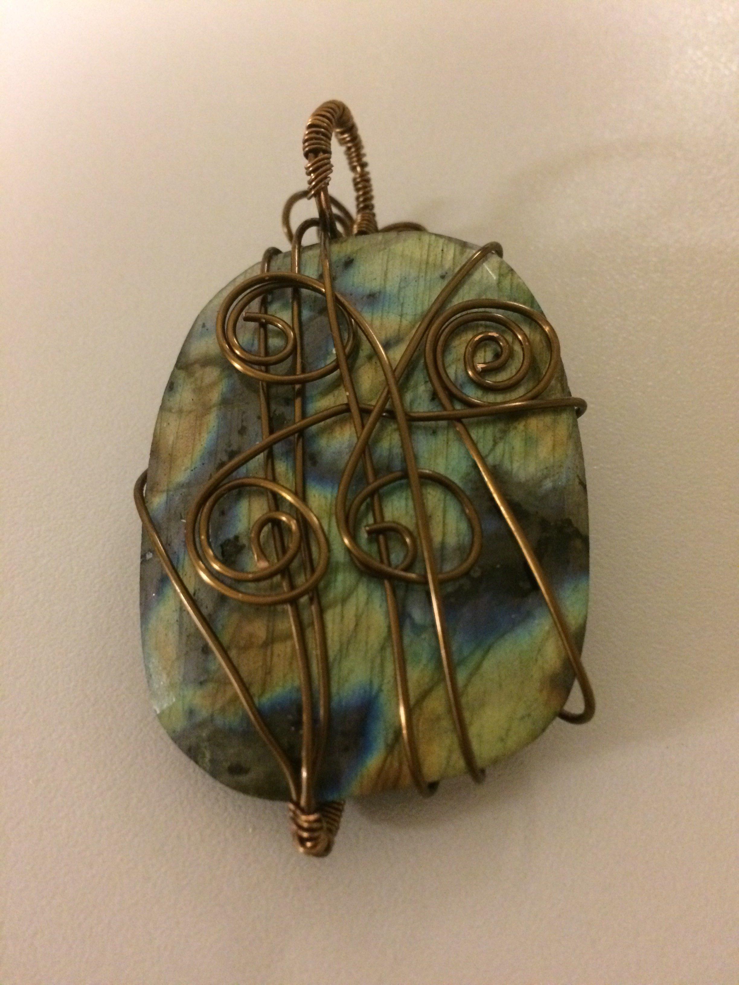 Labradorite Antique Brass Wire-Wrapped Pendant