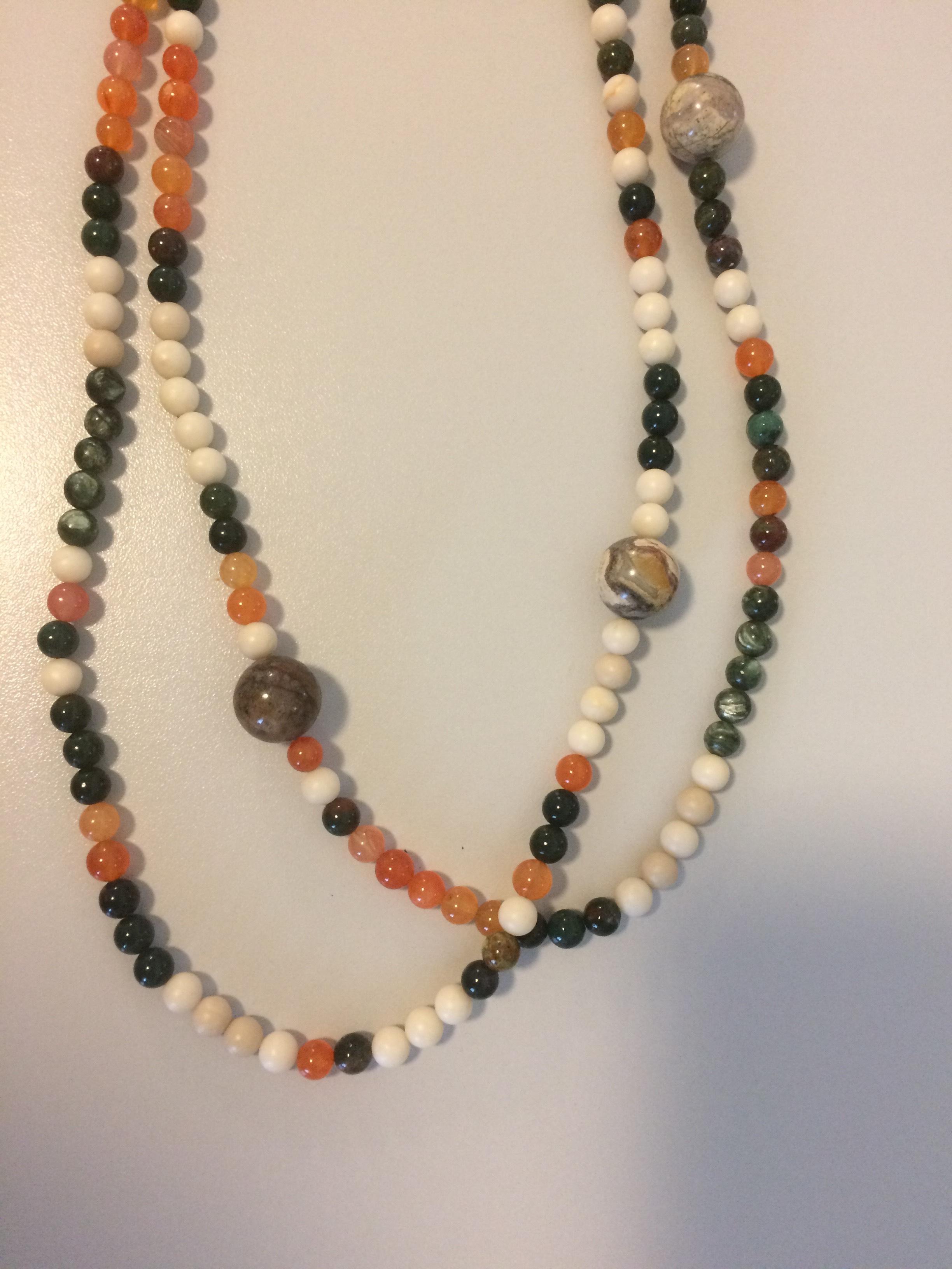 Bloodstone, Seraphinite, Carnelian, Matte Wood Agate, Morganite, Petersite, Porcaline Jasper Gold-Filled Chain/Findings, Flex Wire Necklace
