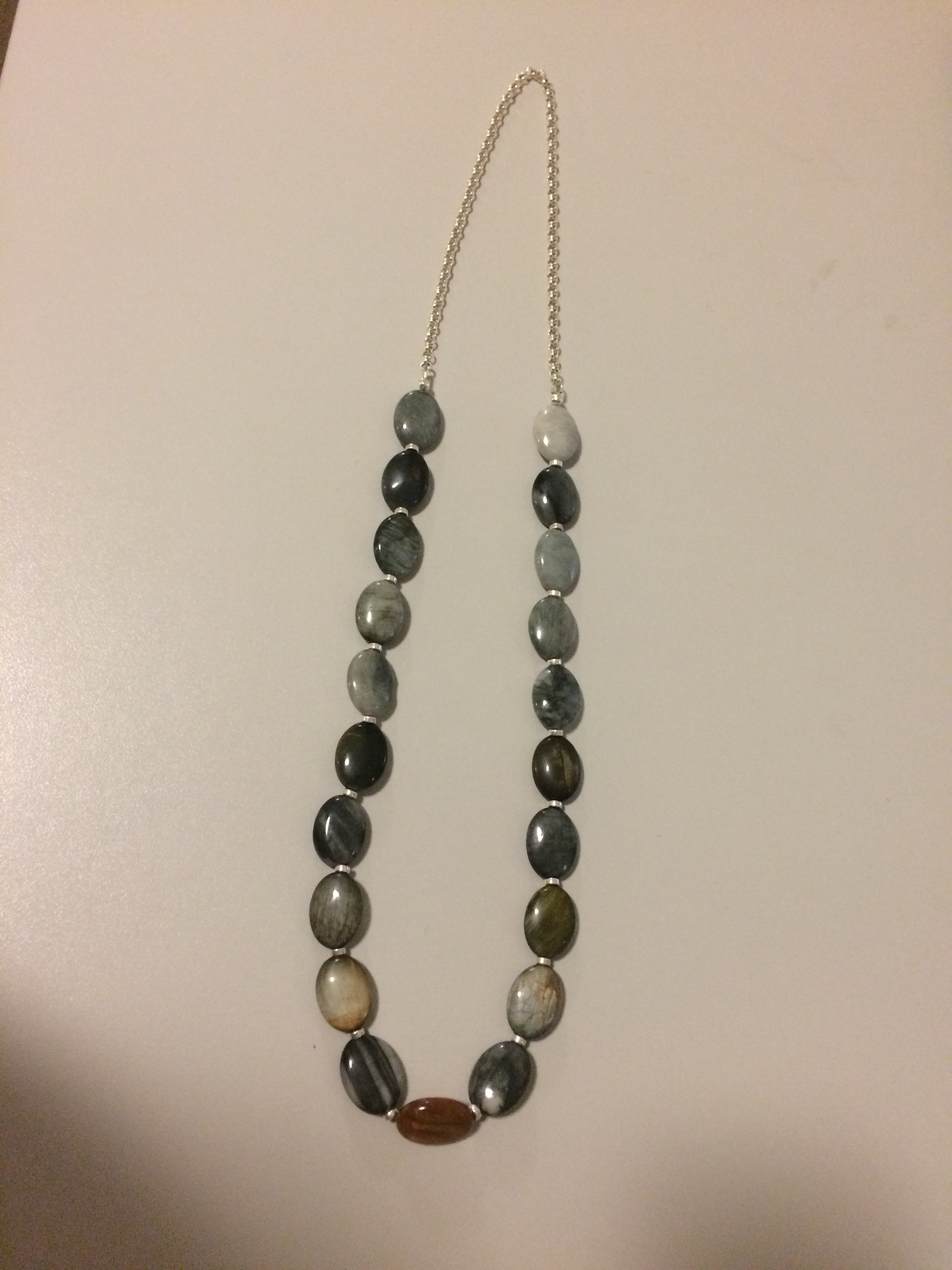 Eagle's Eye and Sterling Silver Tire Beads, Sterling Silver Chain Necklace