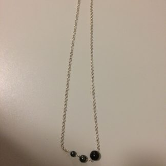 Onyx and Hematite Necklace with Sterling Silver Chain