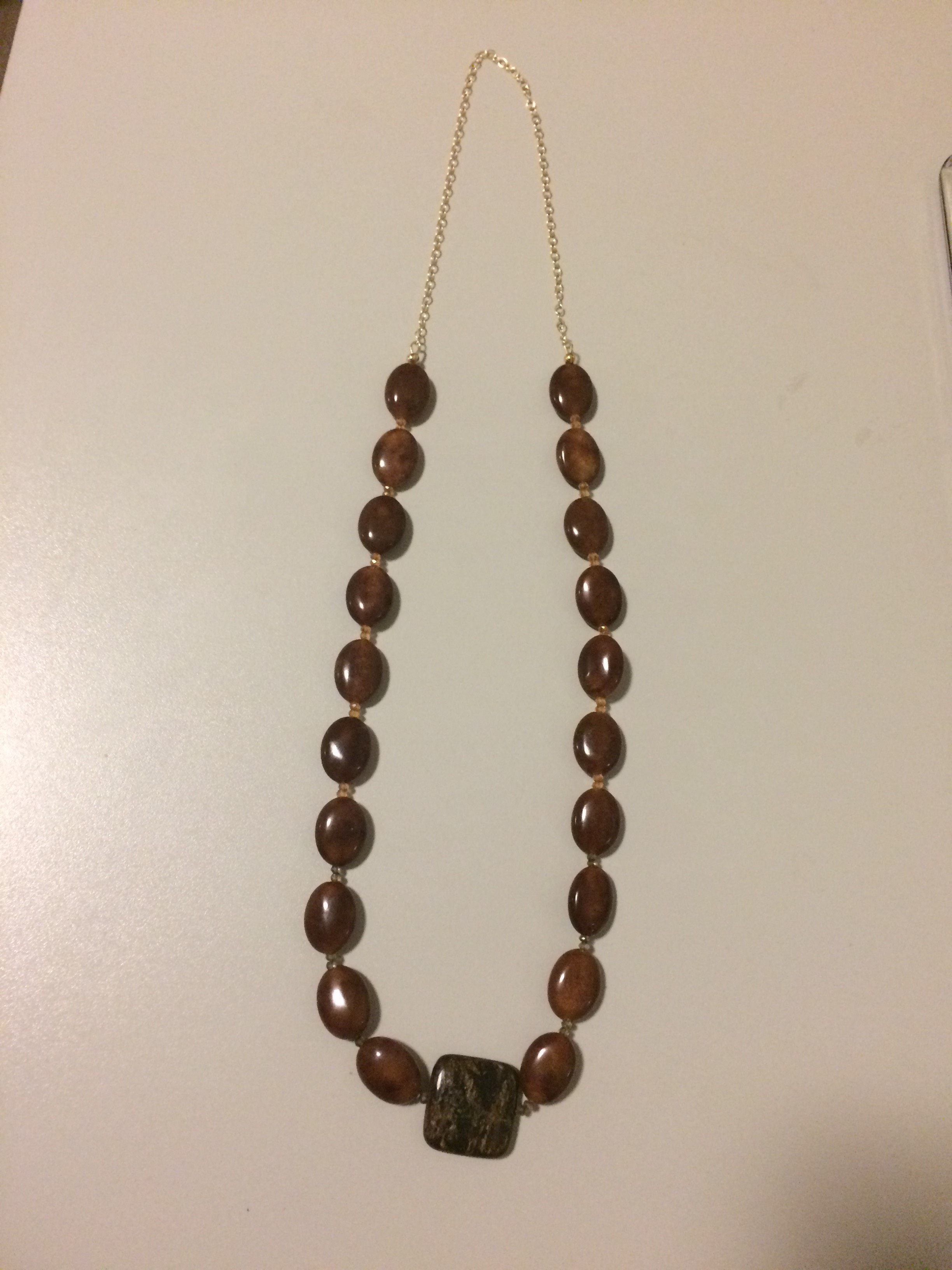 Oild Jade (Brown), Heated Quartz (Brown and Green) Necklace with Gold Filled Chain/Findings
