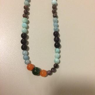 Sugilite, Larimar, Chaorite, Amethyst, Aquamarine, Carnelian Necklace with Gold-Filled Chain/Findings