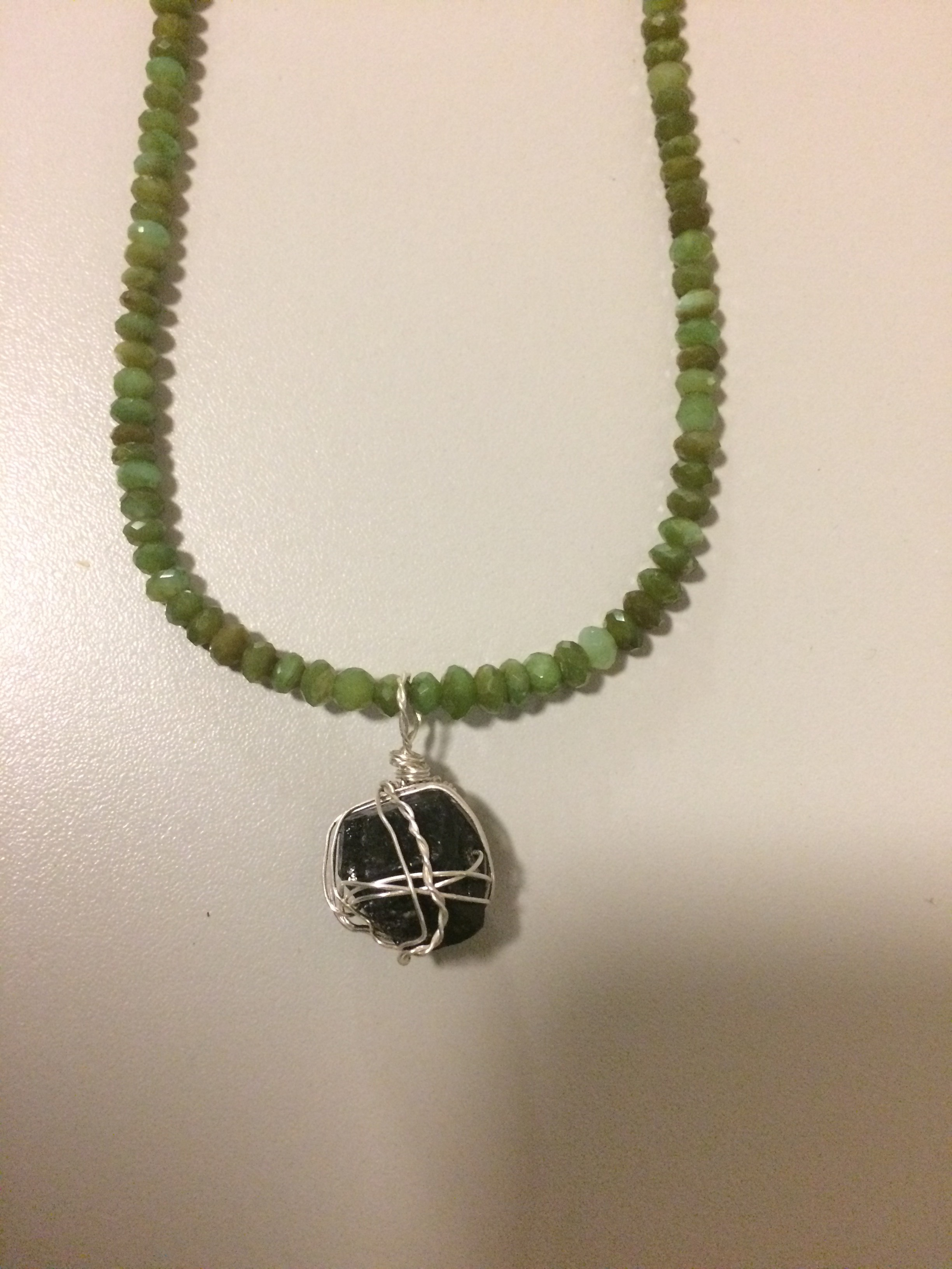 Green Peruvian Opal Necklace with Black Tourmaline Pendant with Sterling Silver Chain/Findings