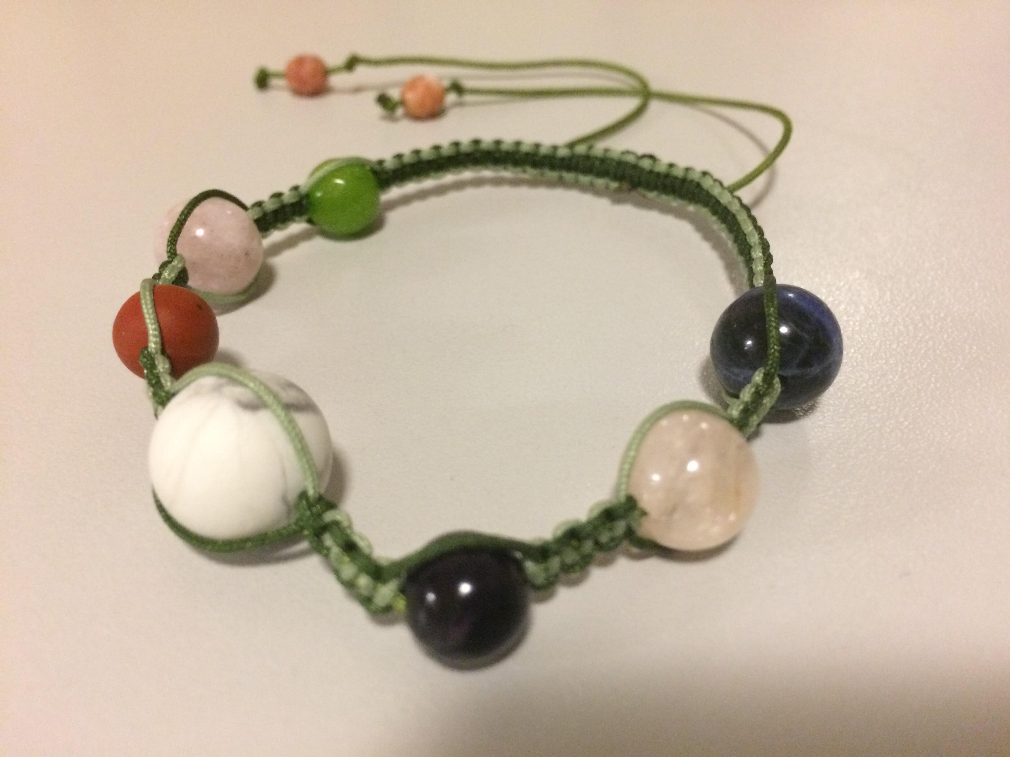 Macrame Bracelet - Sodalite, Morganite, Amethyst, Matte Howlite, Jasper, Dyed Jade, Czech Firepolish Beads, Nylon Thread