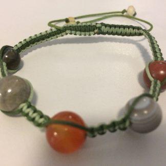 Macrame Bracelet - Carnelian, Botsuwana Agate, Labradorite, Banded Agate, Opal