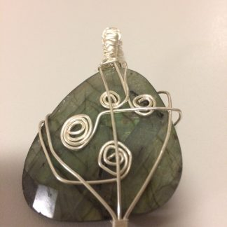Labradorite Sterling Silver Plated Wire Wrapped Pendant - #5