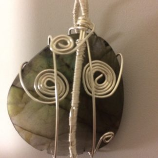 Labradorite Sterling Silver Plated Wire Wrapped Pendant – #7