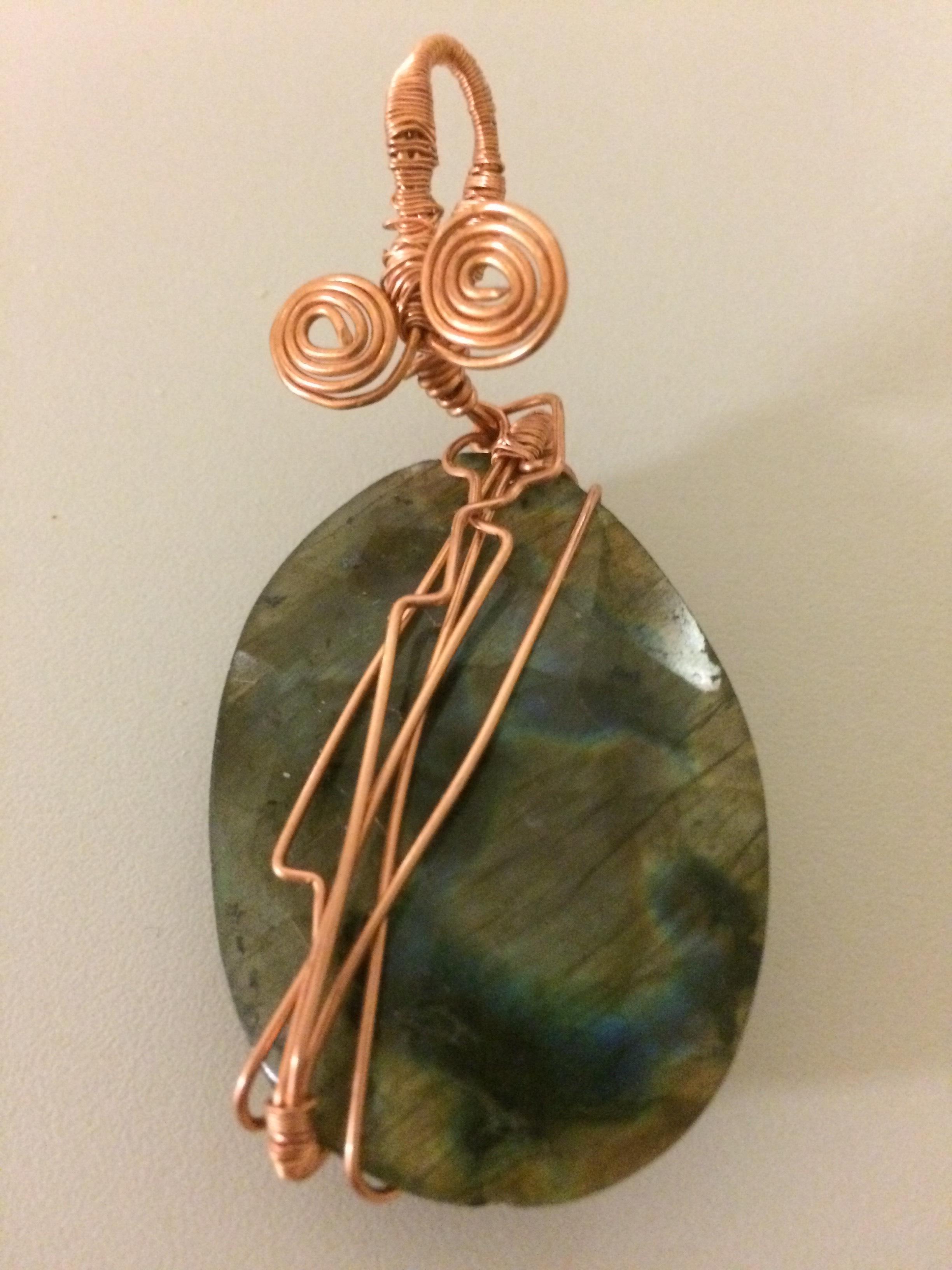 Labradorite Pendant with Copper Wire – #8
