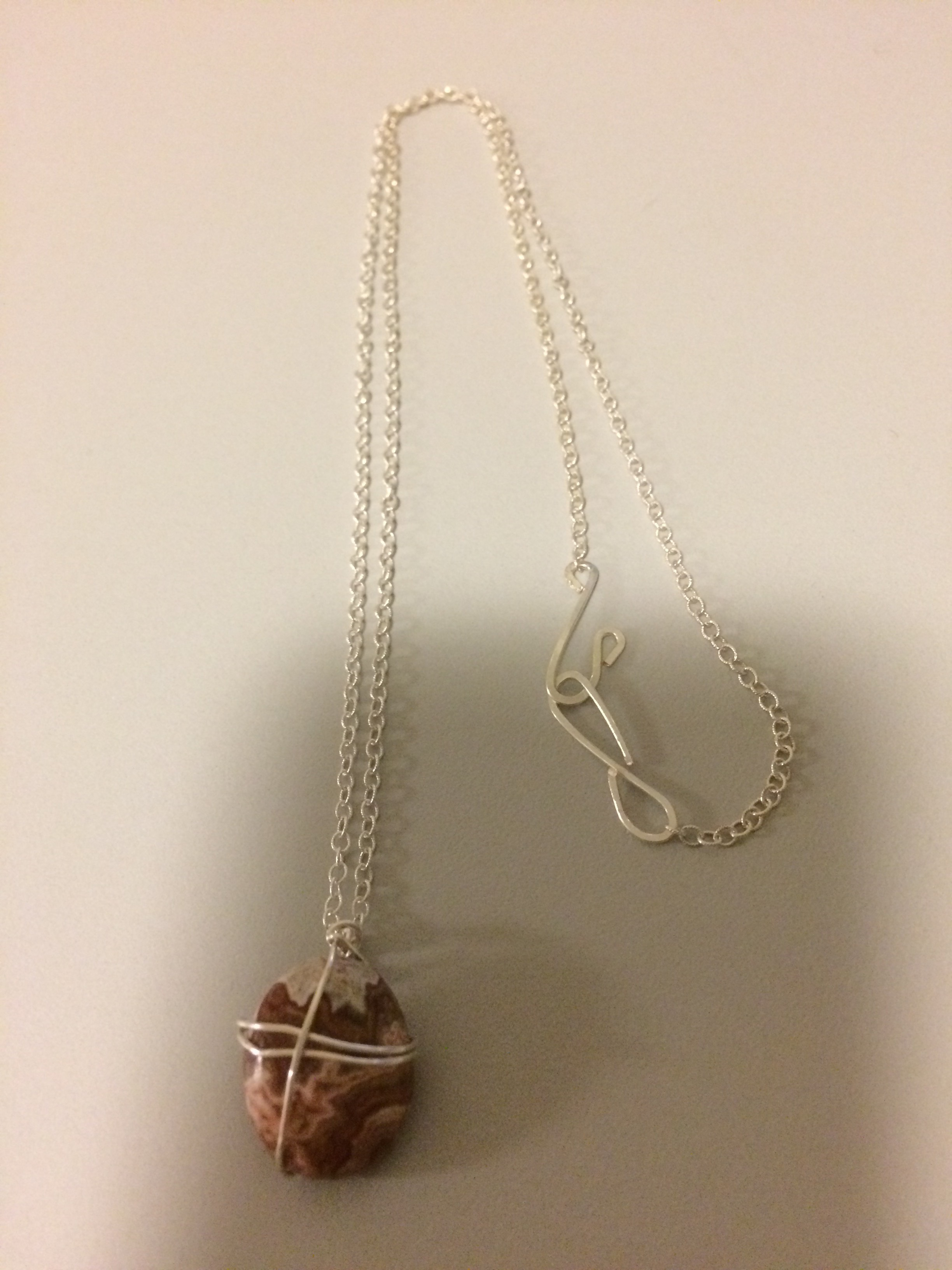Picasso Creek Jasper Pendant with Sterling Silver Plated Wire