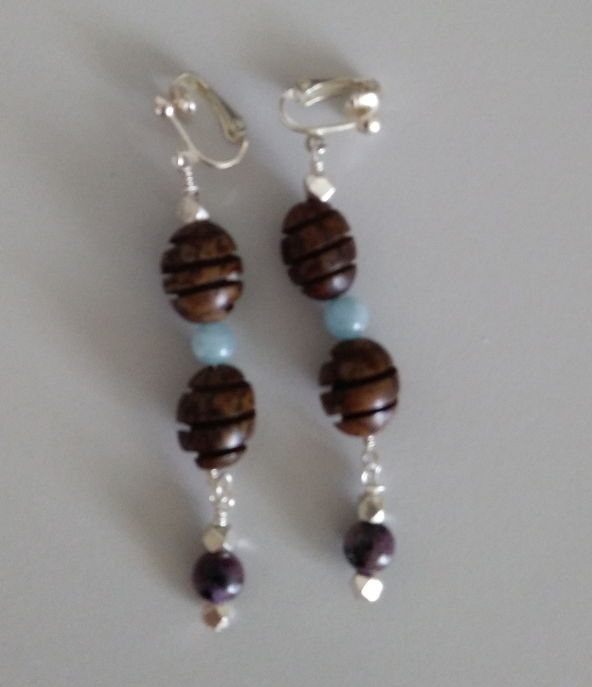 Aquamarine, Charoite, Wood Beads with Sterling Silver Beads Ear-Rings